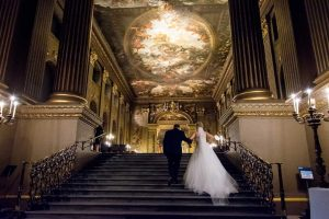 Here Comes The Bride – that special moment between father and daughter at The Old Royal Naval College, Greenwich, London / Photo: Gomes Photography