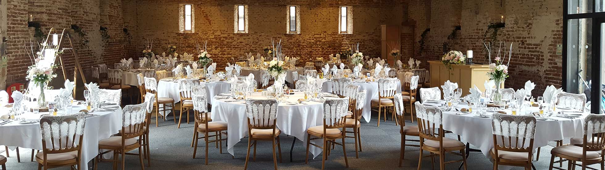 Beautiful bare brickwork inside the wedding venue The Great Lodge, Great Bardfield, Essex / Photo By Weddings By Mary