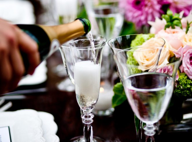 Champagne reception bubbles