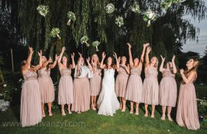 A blushing bride & her bridesmaids, Essex Wedding Venue / Photo: Leah Van Zyl Photography